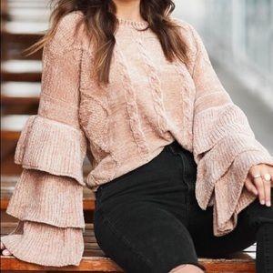 Pat Rego Rose Ruffle-Sleeve Chenille Sweater